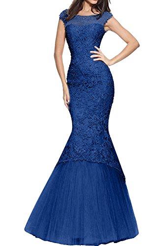 Abendkleider Royal Spitze Meerjungfrau Damen Charmant Promkleider Trumpet Abiballkleider Figurbetont Blau Rosa qPfzEExwtY