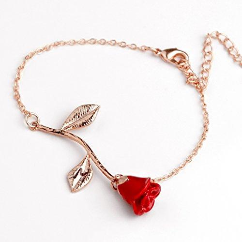 Red Petal Rose Bracelet in Rose Gold Beauty and the Beast Rose Bracelet Initial Bracelet Christmas Gifts for Mom (M)