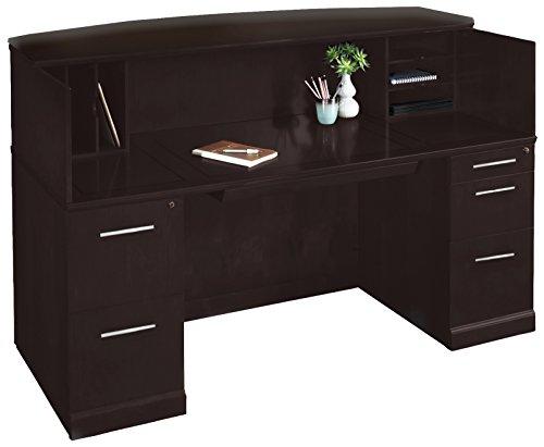 Mayline SRCDESP Sorrento Reception Station Desk with Veneer Counter, 1 PBF and 1 FF Pedestal, Espresso (Mayline Reception Desk)