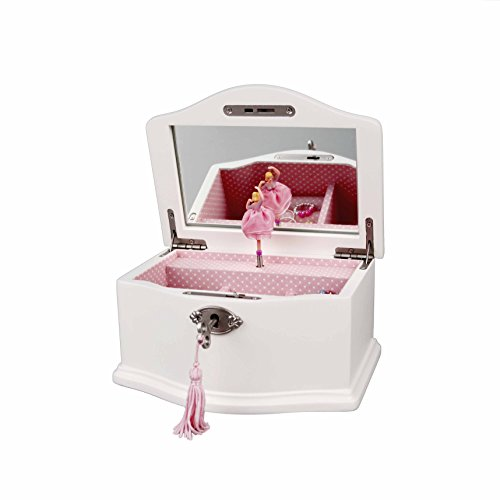 Art Lins Elle Ballerina Music Jewelry Box with Lock, Small, Wooden Case, White