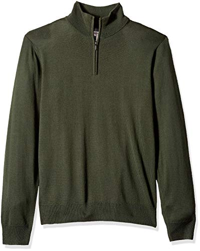 Wool Mens Sweater - Goodthreads Men's Merino Wool Quarter Zip Sweater, Olive, X-Large