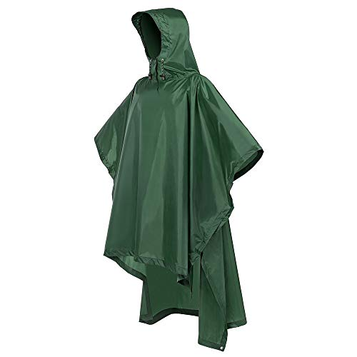 Terra Hiker Rain Poncho, Waterproof Raincoat with Hoods for Outdoor Activities (Army Green)