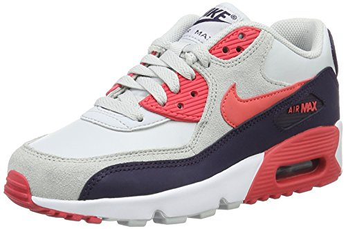 Nike Jeugd Air Max 90 Leder Trainers Zuiver Platina / Embr Glow-paars Dynsty