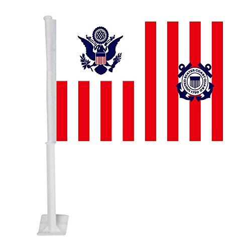 APFoo Maritime Banner Ensign of The Coast Guard car Window Flag with Pole 12x18inch