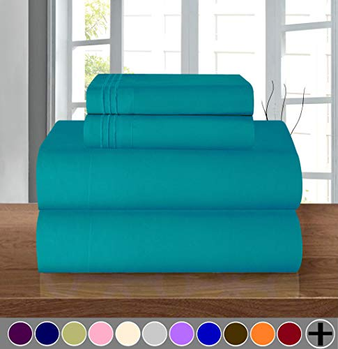 Elegant Comfort Luxury Soft 1500 Thread Count Egyptian Quality 4-Piece Sheet Wrinkle and Fade Resistant Bedding Set, Deep Pocket up to 16inch, Queen, Turquoise