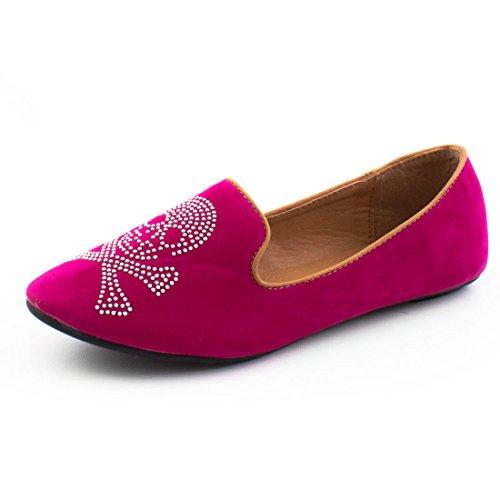 Damen Low Top Totenkopf Strass Ballerinas Sneaker Slipper Halbschuhe Pink