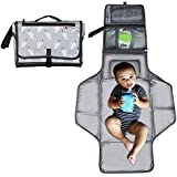 Kiddibean Clutch Diaper Changing Pad - Waterproof Baby Travel Changing Station –Portable and Easy to use - Built-in Head Cushion – Multiple Pockets - Cute Yellow Monkey Print (Grey)