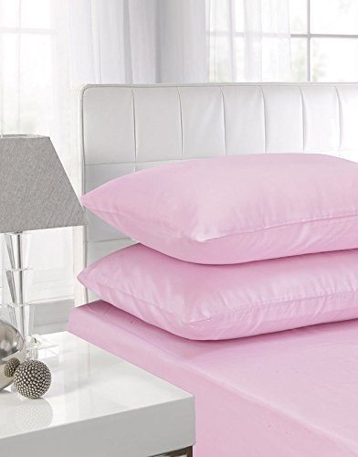 EDS NEW PAIR of PLAIN PILLOWCASES Poly Cotton Luxury Bedroom - 2 x Pillow Case (2 x Pillow Case Standard Size, Pink)