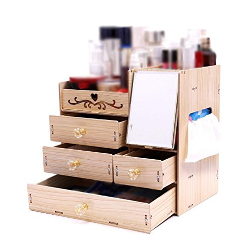 CJC Storage Box Wooden Desktop Band Mirror Cosmetic Jewelry Protection Skin Product Drawer Formula Dressing Box (Color : C) by Storage & Organization & Jewelry Boxes