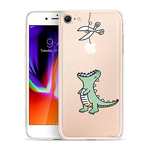 Unov Case Clear with Design Embossed Pattern TPU Soft Bumper Shock Absorption Slim Protective Cover for iPhone 8 iPhone 7 4.7 Inch (Dinosaur)