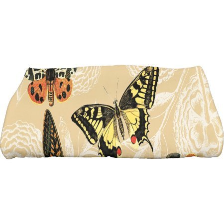 Simply Daisy 28'' x 58'' Antique Butterflies and Flowers Animal Print Bath Towel