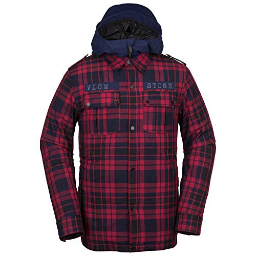 (Volcom Men's Creedle2Stone Military Style Snow Jacket, red,)