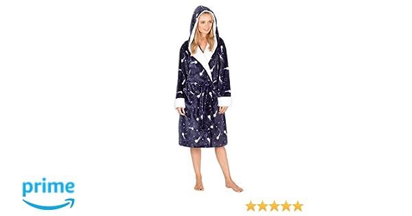 Forever Dreaming Mujer Polar Muy Suave Capucha Estampado Estrellas Bata Pijama - Azul Marino, Large: Amazon.es: Ropa y accesorios