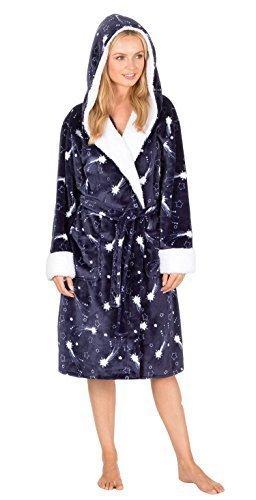 Forever Dreaming Mujer Polar Muy Suave Capucha Estampado Estrellas Bata Pijama - Azul Marino, Large