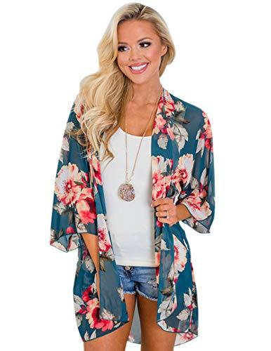 Women's Sheer Chiffon Blouse Loose Tops Kimono Floral Print Cardigan Blue S - Floral Kimono Top