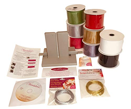 (Deluxe Bowdabra Bow Maker Kit | Gold & Silver Bow Wire | 8 Spools Satin Ribbon | Craft Gift Bows, Swags, Decorations, Hair Bows, Party Favors, Pew Bows &)