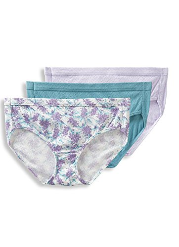 - Jockey Women's Underwear Elance Breathe Hipster - 3 Pack, Violet Mist/Blooming Fern Purple/Blue Stone, 10