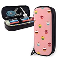 FJSLIE Cool-Cute-Cupcake PU Leather Pouch Storage Bags Portable Student Pencil Office Stationery Bag Zipper Wallets Makeup Multi-Function Bag