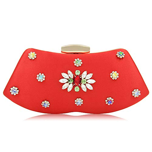 rosa decorati diamanti rosso ad Smilinggirl sera con fiori Clutch da Abito Woman alto con in Dinner rosso raso grado x4wATPgq