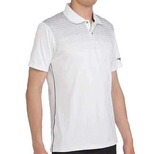 [ミズノ] メンズ ゴルフ ソーラーカット 遮熱プリントシャツ(ポロ衿) ホワイト 52MA800301 XL