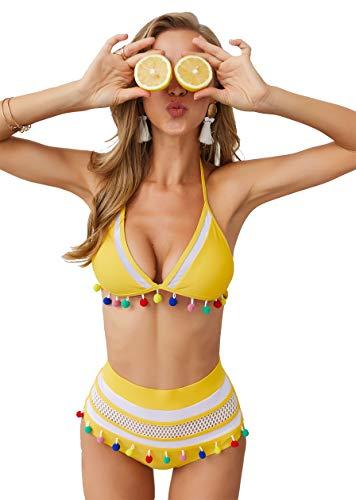 (Longwu Women's Mesh Striped High Waist Bikini Set Tassel Trim Top Halter Straps Swimsuit Yellow-S)