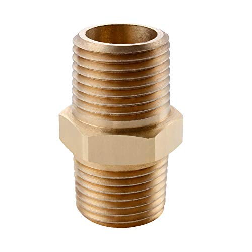 KES Lead-Free Faucet Supply Line Adapter 1/2-Inch NPT Male Converter, SOLID Brass, PJ20