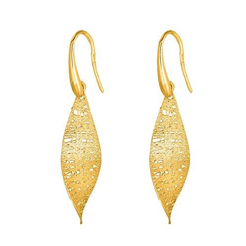 """Or jaune 14carats sablée Long Twisted Marquis Forme en maille comme Boucles d'oreilles """"Stil Novo Collection"""""""