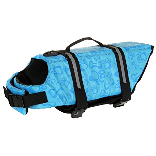 MIXMAX Summer Multi-Color Pet Safety Vest Outward Dog Life Jacket Ripstop Float Coat Puppy Swimming Cloth Plus Size (Large, Blue)