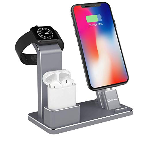 Station Tech (YoFeW Charging Stand for Apple Watch Aluminum Watch Charging Stand Dock Holder Compatible for iWatch Apple Watch Series 4/3 / 2/1/ AirPods/iPhone X/XS/XS Ma /8 / 8Plus / 7/7 Plus /6S /6S Plus)