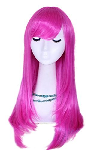 L-email 55cm Long Straight Pink Cosplay Wig Cw143-pink