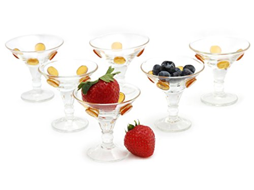 GAC Set of 6 Unique Shot Glasses 1oz Brandy Glasses, Mini Martini Glasses/Mini Cocktail Glasses and Fun Whiskey Glasses Designed with Gold Glass Dots