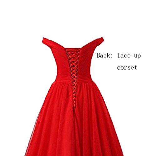 Dames Ld Satin Hors-épaule Haute Bas Robes De Bal De Mariage Robes De Soirée Formelle Rouge
