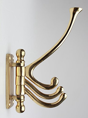Three Arm Swivel Hook in Solid Thick Brass for Coats Towe...
