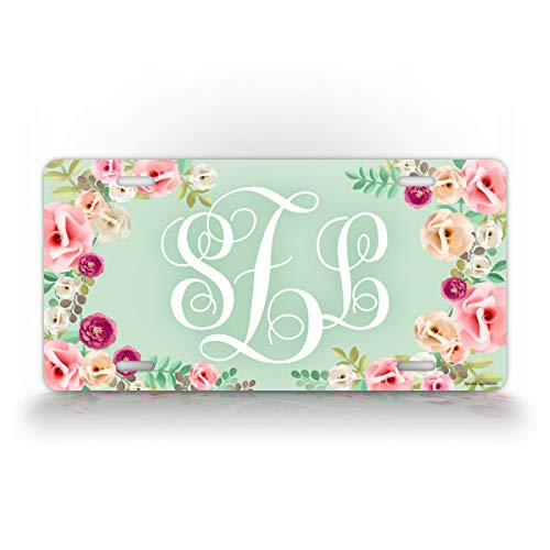 Classy Floral Front Monogram License Plate Personalized Initials Green Monogrammed Auto Tag Women Sign