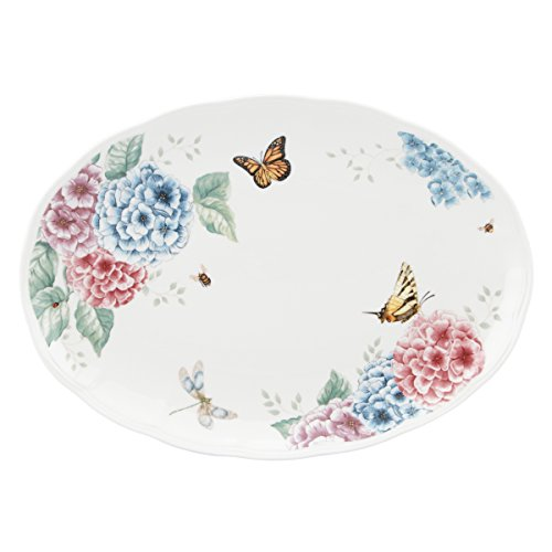 Lenox Butterfly Meadow Hydrangea Large Oval Platter, (White Large Platter)