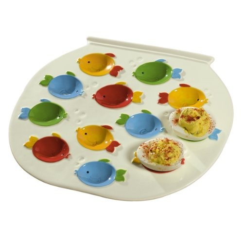 Grasslands Road Studio 100 Making Waves 10 by 8 7/8-Inch Fish Bowl Shaped Egg Plate, Holds 12 Eggs