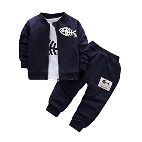 Trim Velour Hoodie Jacket (Shybuy Baby Boy Girl 3-Piece Hoodie Jacket Coat+t-shirt tops +Pants Leggings Outfits Set (3T, Navy))