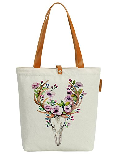 2fb436109bf4a So each Women s Deer Flower Graphic Top Handle Canvas Tote Shoulder ...