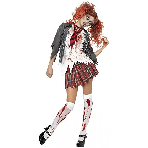 Smiffy's Women's High School Horror Zombie Schoolgirl Costume, Jacket, Attached Shirt, Tie and Skirt, High School Horror, Halloween, Size 10-12, 32929