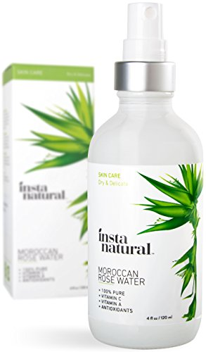 InstaNatural Rose Water Facial Toner - Organic & Natural Astringent Face Mist without Alcohol - Primer to Clear & Tighten Pores - Hydrating & Calming Treatment for Sensitive & Breakout Prone Skin 4 OZ