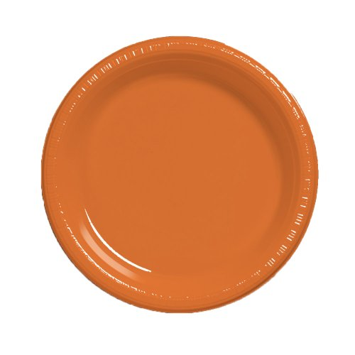 Creative Converting Touch of Color 50 Count Plastic Banquet Plates, Sun-Kissed Orange