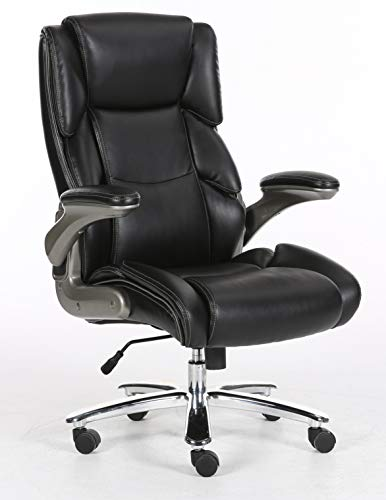 Big and tall black bonded leather executive office chair, supports up to 400 pounds body weight, flip arms with extra thick padding, height adjustment