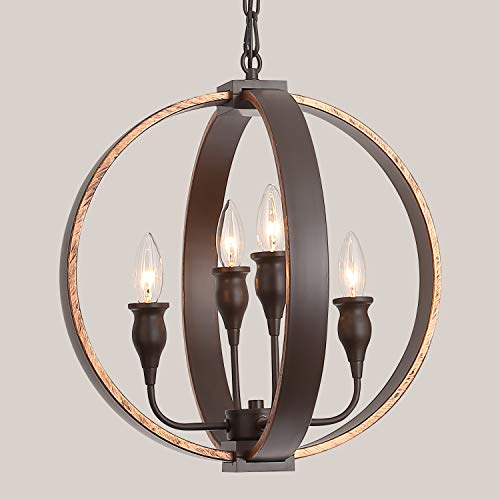 Rustic Vintage Chandeliers Bronze Orb Steel Hanging 4-Light Globe Chandelier Ceiling Fixture for Dining Room, Foyer, Entryway,Farmhouse