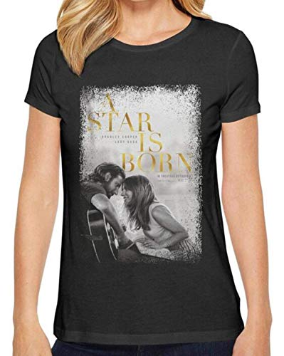 popularshop Women's Cotton Fashion Music t Shirts Lady-Gaga-A-Star-is-Born- Casual pop Tees - T-shirt Cotton Star All
