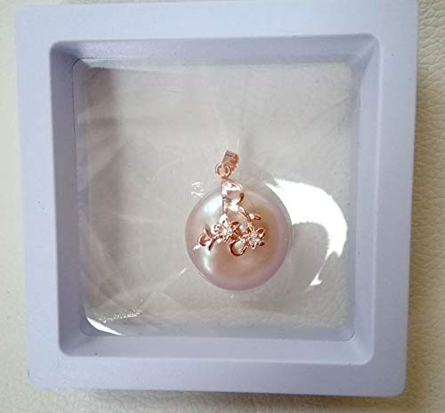 FidgetKute 20mm Coin Cultured nucleared Pearl Pendant White Rose Gold Plated ne2835 Pink Pearl with Rose Gold
