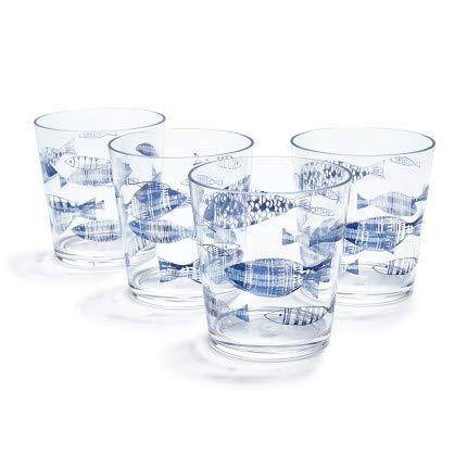 Sur La Table Fish Double Old Fashioned Glasses, Set of 4