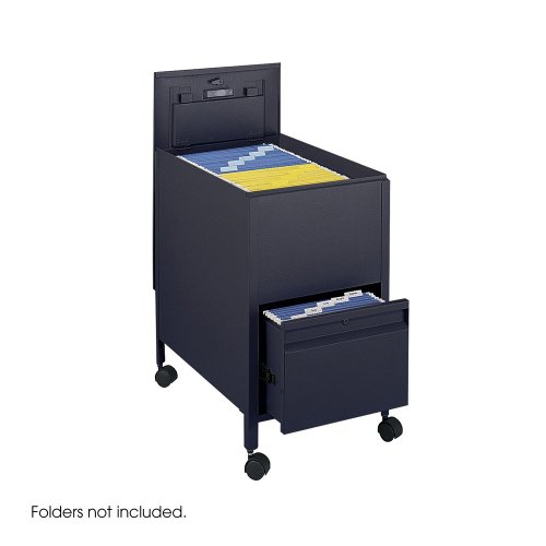Suspension Filing Trolley - Safco Locking Mobile Tub File with Drawer, Letter Size Black