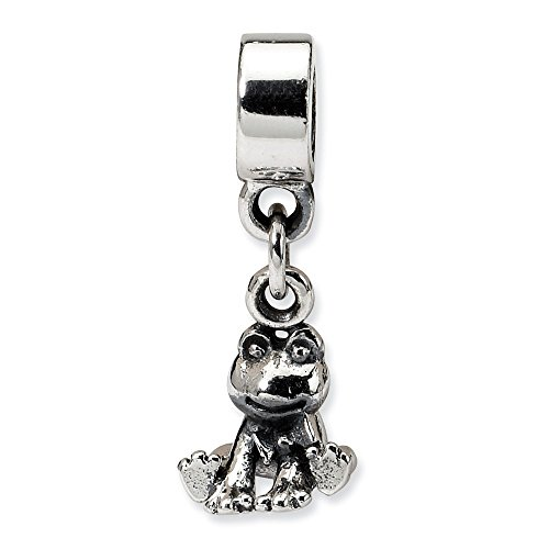 Reflection Beads Sterling Silver Small Frog Dangle Bead (21x8 mm)