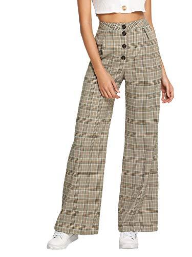 Verdusa Women's Plaid High Waist Button Fly Wide Leg Pants Long Palazzo Trousers Khaki M