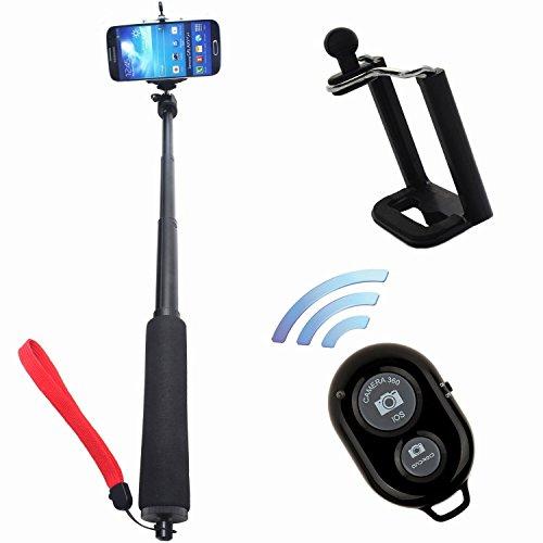 ST-54 Extendable Waterproof Selfportrait Handheld Stick Monopod + Black Wireless Bluetooth Remote Control Camera Shutter + Adjustable Phone Holder For Samsung iPhone Blackberry